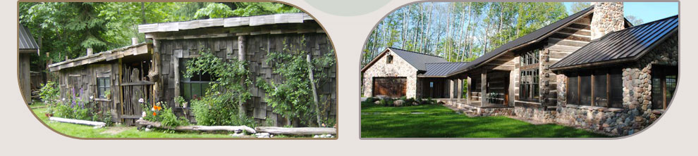 LifeTime� Wood Treatment non-toxic wood stain on an out-building and a hewn log home