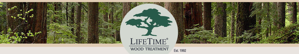 LifeTime® Wood Treatment logo and banner showing wood, trees and forest